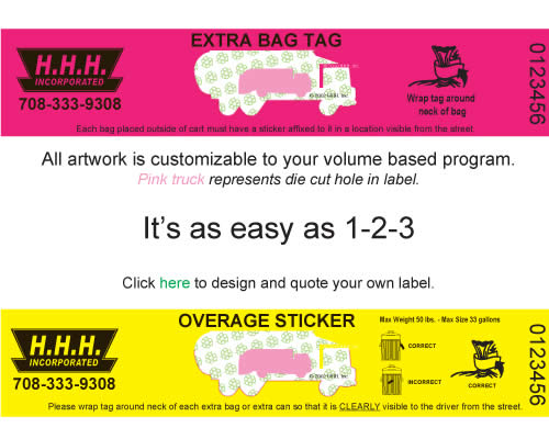 extra bag tags and Overage Stickers